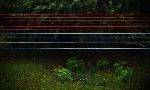 wire red and blue clothes lines park bench