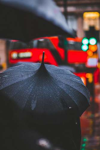 london person holding black umbrella canopy