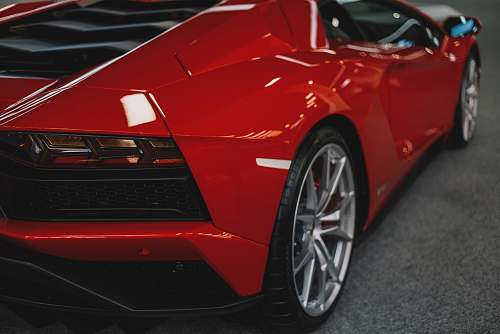 car red sports coupe automobile