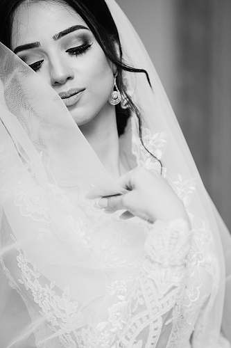 wedding woman in white wedding dress closing eyes bride