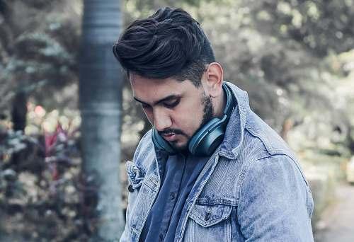 people man wearing blue denim jacket person