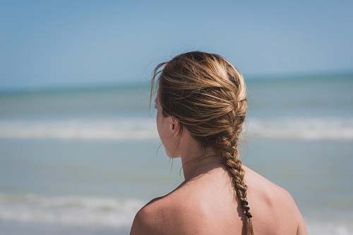 person back view photo of woman with braided hair near sea woman