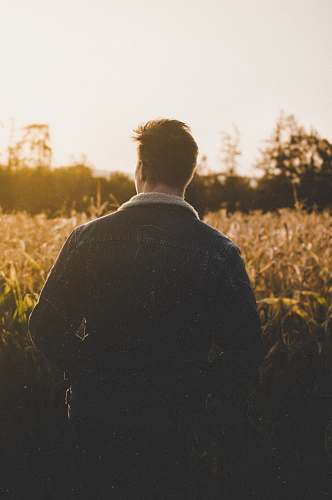 human man standing near grasses back