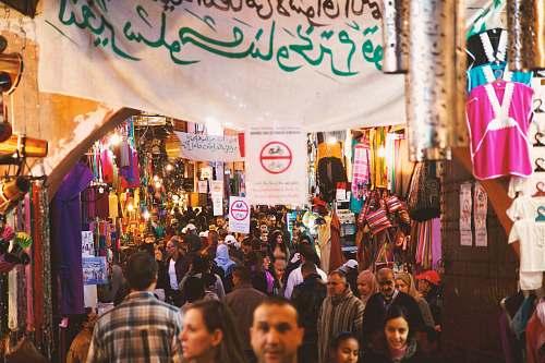 human people at night market during night crowd