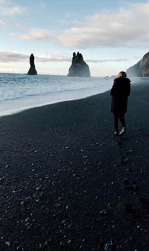 person person walking near body of water iceland
