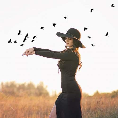 person woman in black dress human