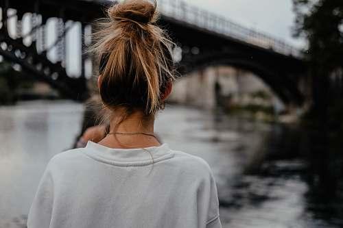 human woman sight seeing on bridge person
