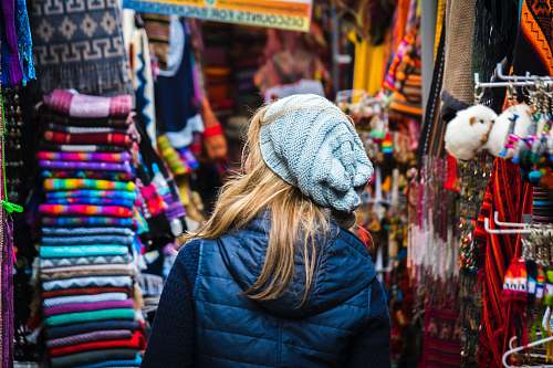 human woman standing on clothes market person