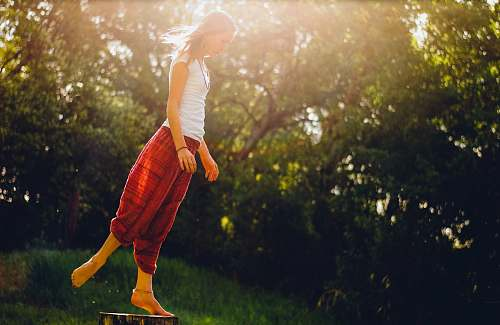 person woman standing on wood log human