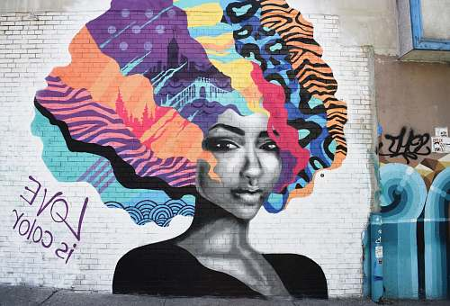 people brown, blue and purple hair woman graffiti human