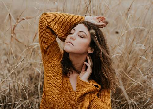 people women's orange sweater feeling breeze human