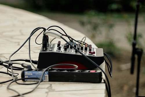 mixer black power strip and audio mixer music
