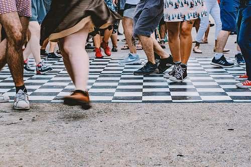 clothing people walking on raod shoe