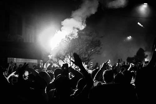 crowd people gathering on street during nighttime human