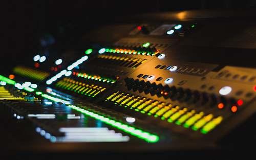 studio black audio mixer computer