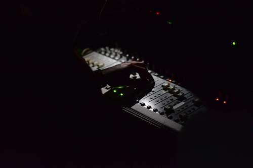 keyboard gray audio mixer computer