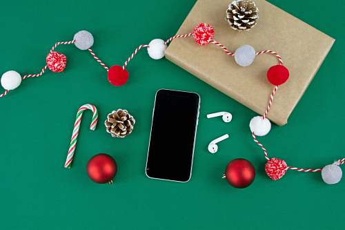 phone smartphone between pine cone and AirPods cell phone