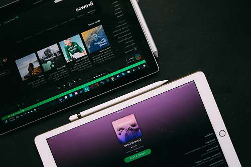 music white and black iPad computer