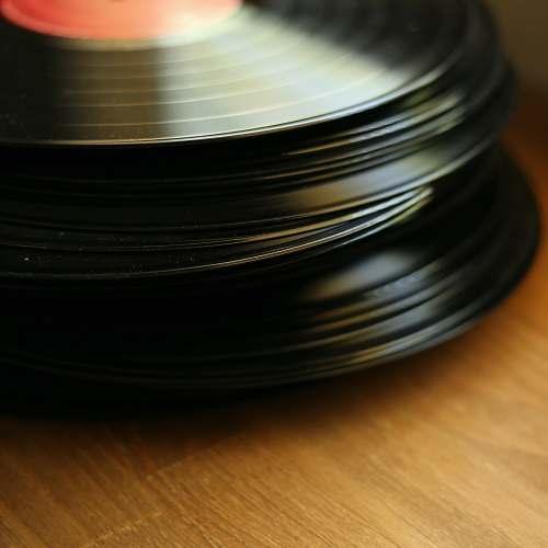 disk pile of vinyl discs meal