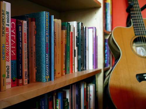 bookcase brown guitar near book shelves close-up photography shelf