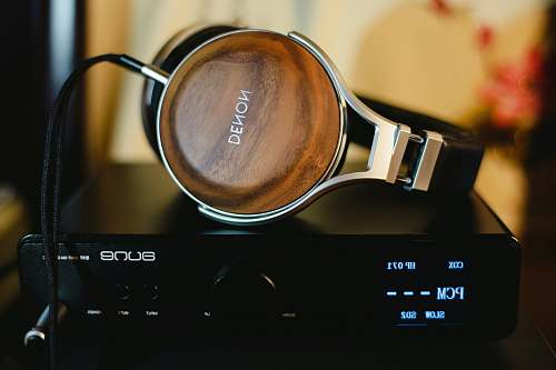 audiophile Denon headphones on amplifier headphone