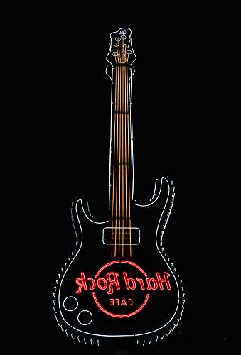 logo black and red electric guitar hard rock cafe signage trademark
