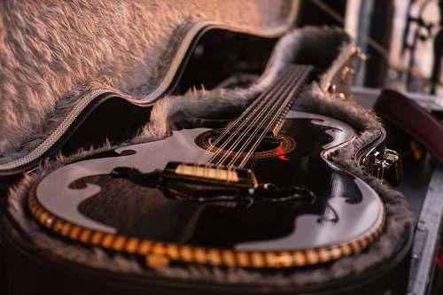 guitar closeup photo of gray and black guitar person