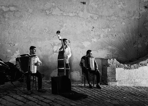 person grayscale photography of three men playing musical instruments black-and-white