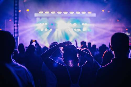 person people standing in front of stage with lights crowd