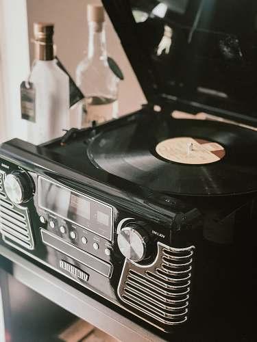 electronics black vinyl record cooktop
