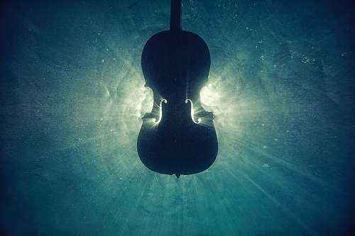 music black violin on underwater digital wallpaper silhouette