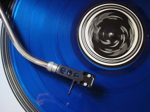 electronics black and blue turntable record