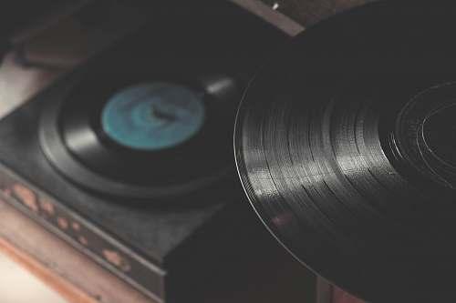 vintage black portable vinyl records grey