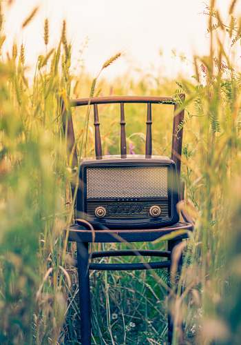 vintage black transistor radio in the middle of the field radio