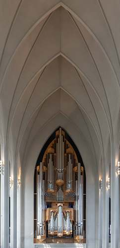 iceland gray painted cathedral interior organ