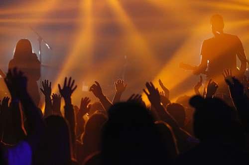 crowd people raising hands on concert concert