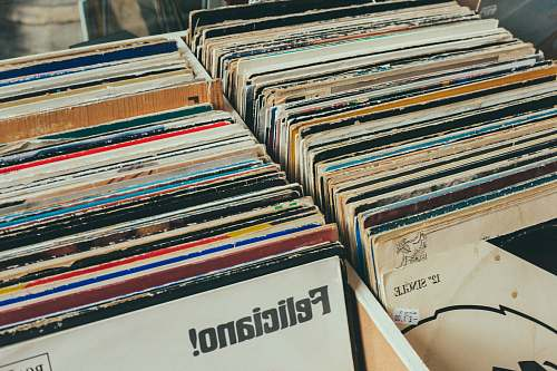 vintage pile of assorted-title record sleeve on rack norwich