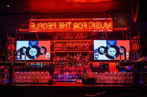 billboard red music of the people neon-light signage scoreboard