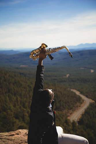 person person holding up brass-colored saxophone human