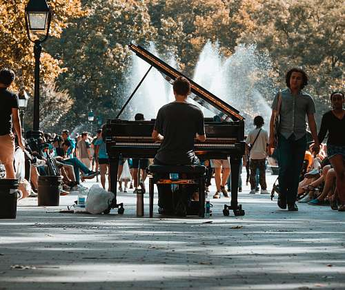 people selective focus photography of man playing grand piano in crowd person