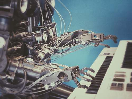 science robot playing piano future