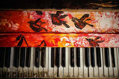 art black and white electronic keyboard painting