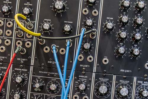 audio photo of black and blue audio mixer synthesizer