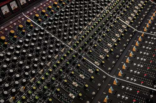 electronics black and green audio mixer computer