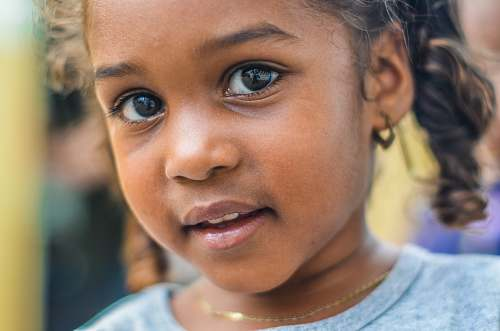 people close-up photography of child wearing gray top kid