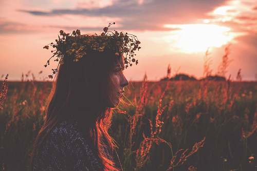 people depth photography of woman with flower headpiece person