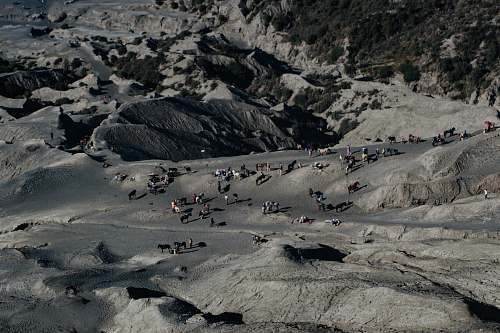 indonesia aerial photography of people standing on gray rocky mountain during daytime mount bromo