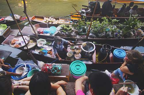 food flat lay photography of floating market vase