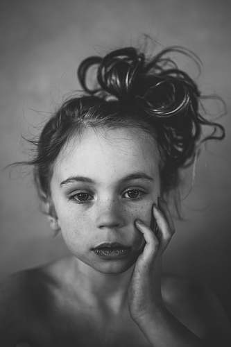 black-and-white grayscale photography of girl portrait