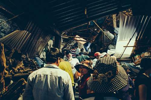 hoa binh group of people standing inside structure vietnam
